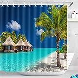 LB Bungalows de Agua Tropical Island Palm Trees White Sandy Beach Cortina de Ducha de Ducha de decoración de baño de Tela de poliéster Resistente al Agua con 12 Ganchos,180x200cm
