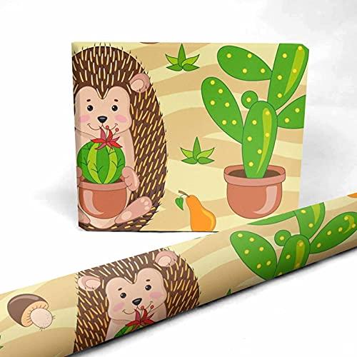 InterestPrint Sand Deser, Hedgehogs, Cactus Present Packing Paper 58 x 23 inch for Halloween Thanksgiving 1 Sheet