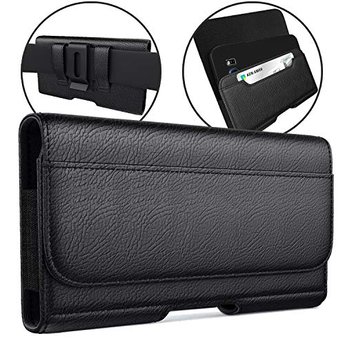 Meilib iPhone 11 Pro Max, XS Max, 8 Plus, 7 Plus 6s Plus Holster, Cell Phone Belt Case with Belt Clip/Loops, Belt Pouch Cover w/Built in ID Card Holder (Fits Phones with Otterbox Cases on)