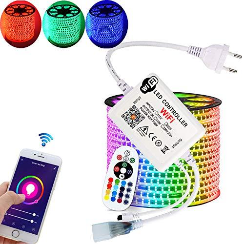 20 Meter H+H Leipzig 230V SMD5050 60LEDs/M IP67 RGB LED Strip Streifen Lichtband+ IP20 WiFi Infrarot Netzteil Controller + Infrarot Fernbedienung, mit Alexa, Google Assistant kompatibel