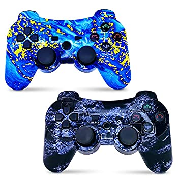 CHENGDAO Wireless Controller 2 Pack Compatible with Playstation 3 with High Performance Motion Sense Double Vibration and Charging Cable Blue + Violet