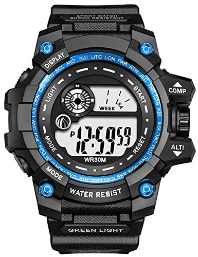 Herren Uhr Männer Militär Digitaluhr Sport mit Hintergrundbeleuchtung/Wecker/Stoppuhr/Datum für Männer Teenager Junge stoßfeste Outdoor Sport Wasserdicht Armbanduhr