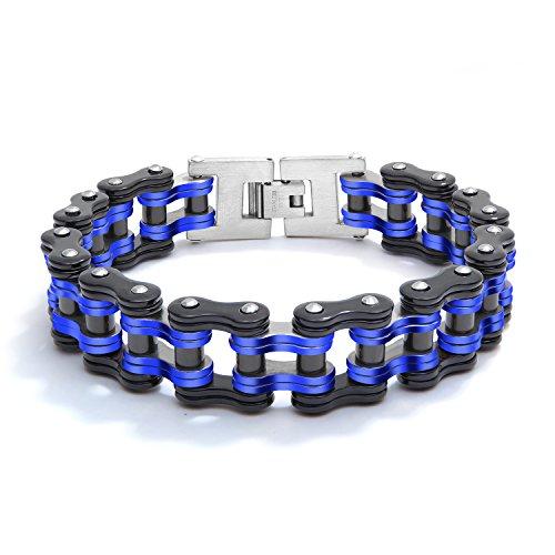 bigshopDE Herren Armband Armkette Edelstahl Biker Fahrrad Motorradkette Armreif (Blau-Schwarz)