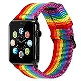 ESTUYOYA - Pulsera de Nailon Compatible con Apple Watch Colores Orgullo Gay LGBT Ajustable Estilo Deportiva Casual Elegante para 42mm 44mm Series 6/5 / 4/3 / 2/1 / SE/Nike+