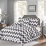 Empire Home Chevron Luxurious 10-Piece Zig-Zag Soft Comforter Set & Bed Sheets (Gray, Queen Size)