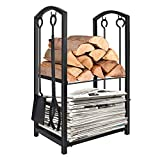 WBHome Firewood Rack with 4 Tools - Iron Fire Log Holder Storage Set Includes...