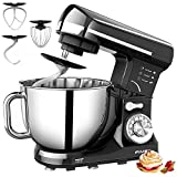 FIMEI Stand Mixer 660W, 5.5 Qt Food Mixer, 6-Speed Tilt-Head Kitchen Mixer (Dough Hook and Beater with Ceramic Glaze, Whisk), Lower Noise, Anti-Slip (Black)