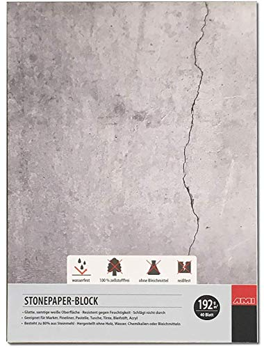 Artservice-Tube Steinpapier-Block, Stonepaper Zeichenblock Zeichenpapier, DIN A6 Format, 192g/m² 40 Blatt