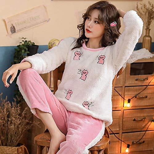 WDDYYBF Pijamas Mujer,Otoño Invierno Caliente Franela Mujeres Pijamas Conjuntos Animal Cerdo Impresión Grueso Coral Terciopelo Manga Larga Ropa De Dormir Lindo Franela Pajamas Conjunto De Ropa, XL