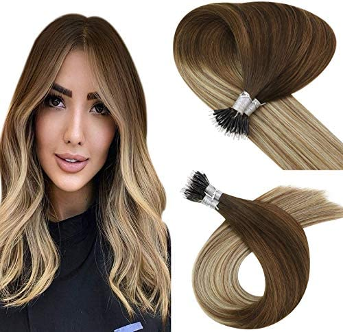 YoungSee Fusion Nano Tip Extensions Dark Brown to Medium Brown with Golden Blonde Micro Nano product image