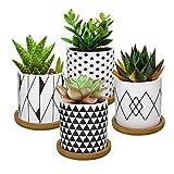 Lewondr Keramik Sukkulenten Töpfe, 4 Stücke 7 cm Kaktus Pflanze Töpfe Mini Blumentöpfe Set mit Bambus Untersetzer, Dekorationen - Geometrische Muster Serie 02, Schwarz + Weiß