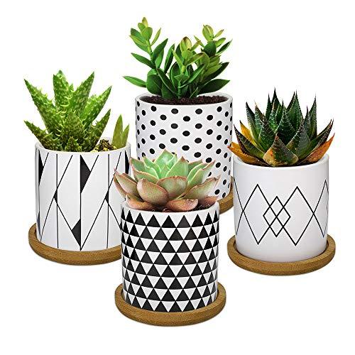 Lewondr 4PCS Pot de Fleur, 2.8 pouce Mini Céramique Succulent Pots Horticoles Jardinière avec Plateau en Bambou pour Petites Plantes Fleurs Cactus Maison Décorations Décor - Géométrie 02, Noir & Blanc