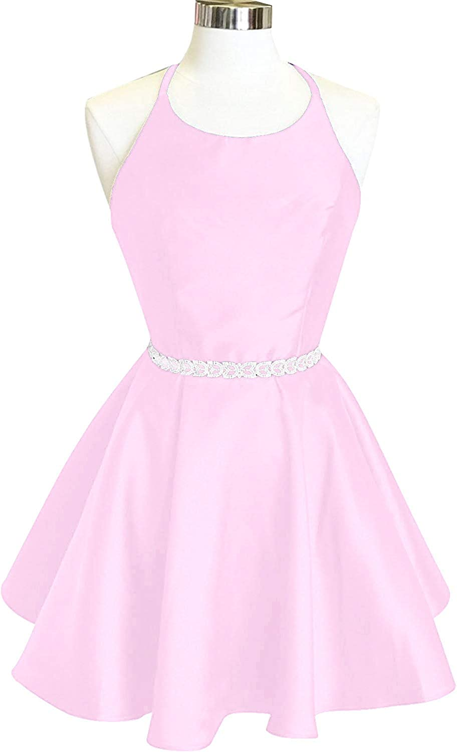 Dreambridal Juniors Short Halter Homecoming Dresses Pockets Satin A Line Cocktail Prom Gowns 024