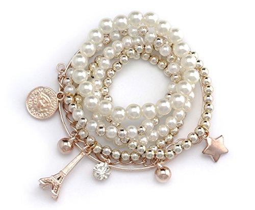 Bracciale Trendy in finitura oro rosa Bracciale Stretch Bracciale perla Braccialetto