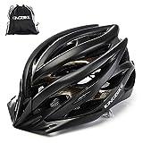 KINGBIKE 自転車 ヘルメット 大人用 ロードバイク/サイクリング ヘルメット 超軽量 高剛性 LEDライト・ヘルメットレインカバー付き 男女兼用 56-60CM M/L (XL(59-63CM), ブラック)