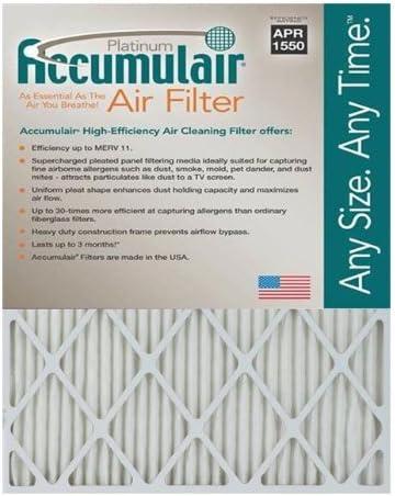 Actual Size MERV 11 Air Filter//Furnace Filters 2 pack Accumulair Platinum 19.5x23.5x1