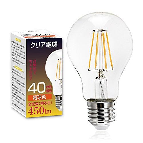 Tengyuan LED電球 40W形相当 E26口金 フィラメント電球 4W 電球色 450lm クリアタイプ エジソン レトロ電球 A60 照明 360度発光 雰囲気重視 【1個入り】