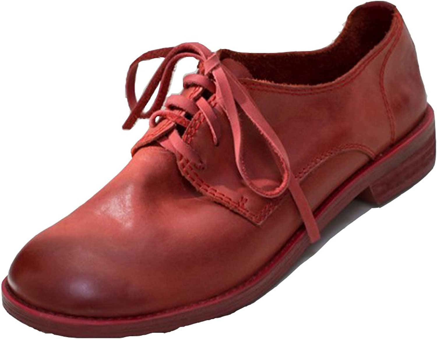 A-BUYBEA Women's 1.37  Blocked Low Heels Round Toe Leather Derby shoes(with 2 Pairs of shoeslace) 4.5-8.5