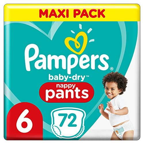 Pampers Baby-Dry Höschenwindeln 6, 72Windeln, Einfaches An- und Ausziehen, zuverlässige Pampers Trockenheit, 15kg+