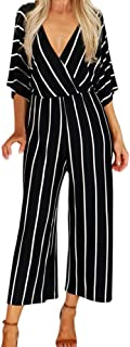 Corriee Striped Jumpsuits for Women Elegant Wrap V-Neck Three Quarter Sleeve Long Romper Loose Jumpsuit
