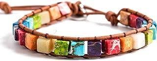 Leather Chakra Handmade Imperial Jasper Wrap Adjustable Bead Bracelet