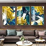 KELEQI Póster de Arte de Pared Abstracto Lámina Dorada Amarilla Impresión de Lienzo nórdico Azul Cuadros de Pintura de Bloques Coloridos Decoración de Sala de Estar (70x100cm) X3 Sin Marco
