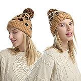 PKYGXZ Cappello Invernale Caldo Beanie Cappello Leopardato Femminile Modello Jacquard Cappelli a Secchiello Lavorato a Maglia Moda Palla di Lana Berretto da Ciclismo di Lana Berretto da Sci Slouchy