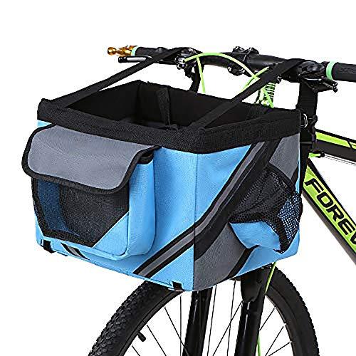 QYHSS Cesta para Bicicleta, Plegable PequeñO Mascota Portador Frente, Bicicleta ExtraíBle Manillar, Cesta, De LiberacióN RáPida, FáCil De Instalar (Negro)