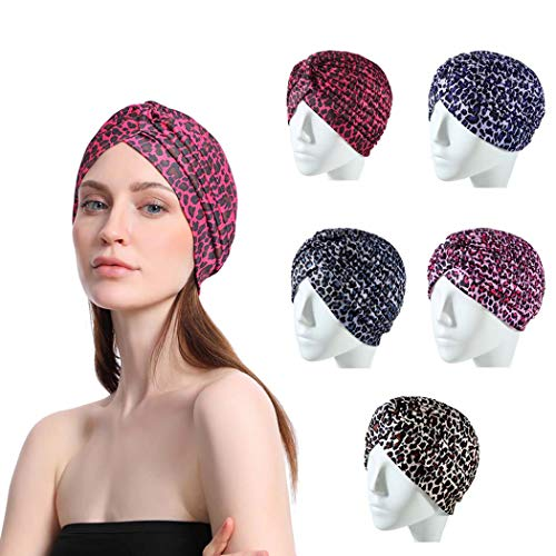 Bohend boho Envoltura de la cabeza Rosado Leopardo Criss Cross Sombreros Turbante India Banda para el cabello para mujeres y niñas.