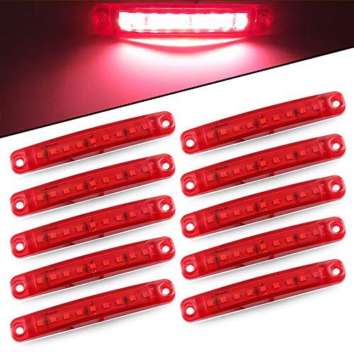 10pcs Lumière Latérale 9SMD 12-24V Feux Latéraux Super Lumineux LED Pour Latéral Feux de Position Du Camion de Conduite Automatique Lumière Avant Feux Arrière de Remorque Moto(rouge)