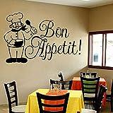 wZUN Sticker Mural français Autocollant en Vinyle Restaurant gastronomique Italien Cuisine Art décoration 85X55 cm