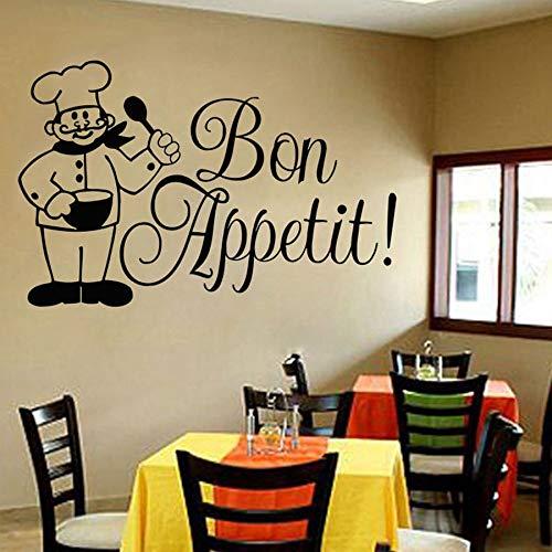 mlpnko Französischer Bon Appetit Wandtattoo Glas Vinyl Aufkleber Italienisches Essen Restaurant Küche Kunst Dekoration 68X44cm