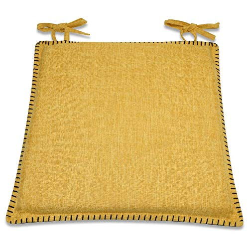 CnA Stores - Set of 4 Ochre Woven Crosshatch Kitchen Dining Garden Chair Cushion Seat Pads With Ties Zipped Removable Covers