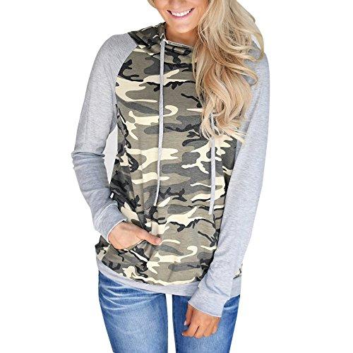 VECDY Damen Pullover,Räumungsverkauf- Herbst Neue Damen Camouflage Printing Pocket Hoodie Sweatshirt mit Kapuze Pullover Tops Bluse Lässiger Sportpullover Herbst langes T-Shirt (38, Tarnung-2)