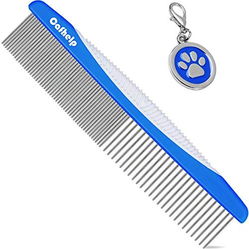 Cafhelp Dog Comb, Cat Comb with Rounded and Smooth Ends Stainless Steel Teeth and Non-Slip Grip Handle, Professional Dog Grooming Tools for Removes Tangles and Knots, Pet Comb for Dogs