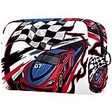 Speeding Racing Car con bandera a cuadros y pista de carreras diseñadas, bolsas de maquillaje portátil, bolsa de cosméticos impresa, bolsa de cosméticos para mujeres bolsa de cosméticos de viaje