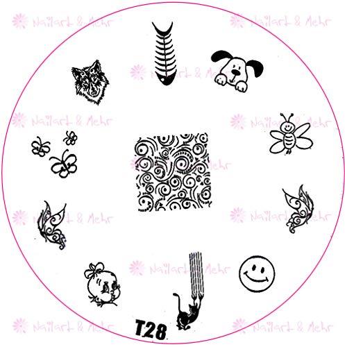 ++ Speciale postenen + + stempelsjabloon T-serie: T28 hond visgraat wolf baby bijen smiley kat vlinder