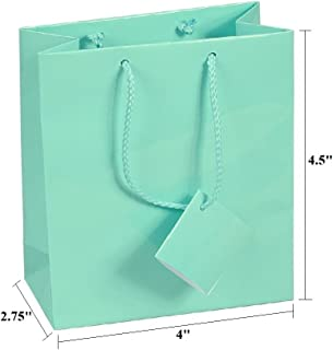 10 pcs Small Fancy Robin's Egg Blue Glossy Finish Shopping Paper Gift Sales Tote Bags with Blank Message Tag 4