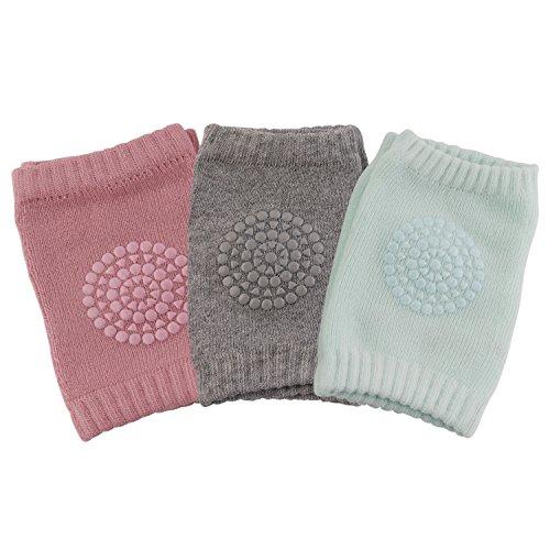 3 Paare Baby Mädchen Knieschoner, Baby Knieschützer mit Gummipunkte anti-Rutsch, 0 -2 Jahre