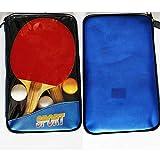 N/A. BIGDOM Set de Ping Pong 2 Raquetas con Esponja Elástica Tenis de Mesa Palas Goma Doble Cara Alta Velocidad 3 Bolas Pelotas Conjunto Recreativo
