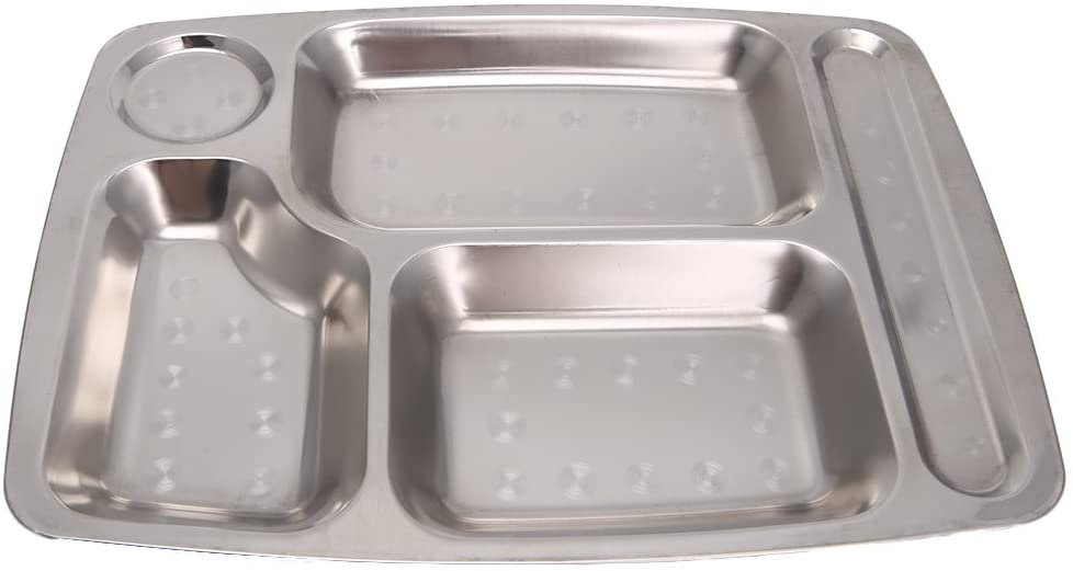 NA. Mentin - Bandeja para comida, acero inoxidable, con 4/5/6 compartimentos, bandeja de comida, bandeja de servicio rectangular, bandeja para vajilla, plato de cena para comedor escolar (02#)