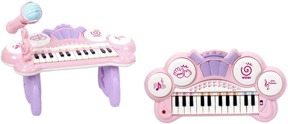 KTYX Toy Puzzel Toetsenbord van de piano Kinderen Baby Music Early Learning Beginners slag Music 1-3-6 Years Speelgoed piano (Color : Pink) Pink