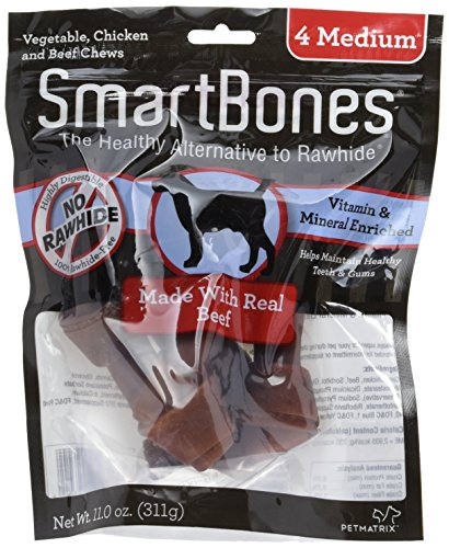 SmartBones SBB-02304 Medium Chews With Real Beef 4 Count, Rawhide-Free Chews For Dogs