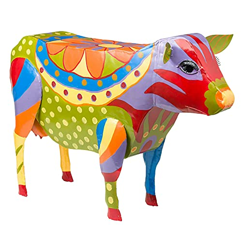colorful cow side table