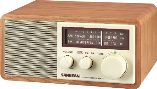 Sangean WR-11 Tabletop FM/AM Analog Wooden Cabinet Radio Receiver, Walnut, Tuning and Band Indicator, Soft and Precise Tuning, Deep Bass Compensation, 3' 7W Full Range Speaker with Enlarged Magnet