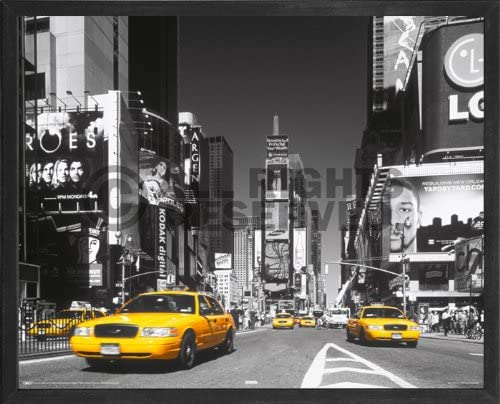 New York Poster Yellow Taxi In Times Square  Magnetic Notice Board Black Framed