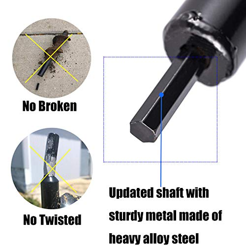 """Cyleodo Garden Auger Spiral Drill Bits,4X12"""" Post Hole Diggers Auger Drill Bit Drill Auger Attachment with Non-Slip 3/8"""" Hex Drive Drill"""