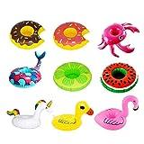 Tuimiyisou 9Pcs Inflable Drink Holder 9 Pieza Titular Piscina Copa Caballo Lindo Rojo Donuts pájaros flotando en el Agua diversión para Fiesta en la Piscina de Verano