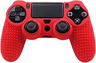 Refaxi Color Silicone Rubber Soft Anti Skid Case Skin Cover Grip For PS4 Controller (Red)