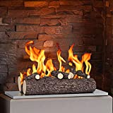 "Regal Flame 5 Piece 16"" Ceramic Wood Gas Fireplace Logs Logs for All Types of Indoor, Gas Inserts, Ventless & Vent Free, Propane, Gel, Ethanol, Electric, or Outdoor Fireplaces & Fire Pits (Oak)"
